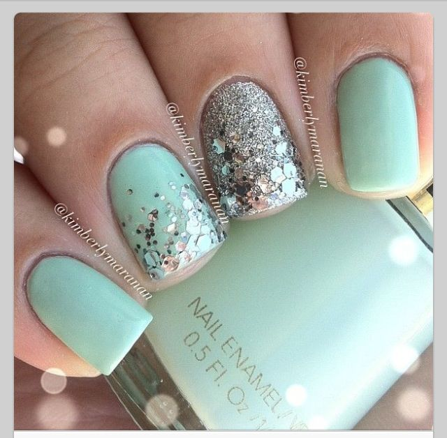 Mint color nails with glitter