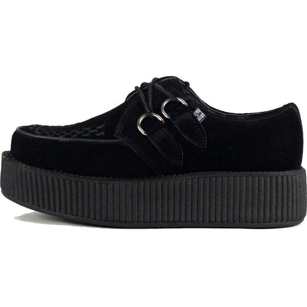 Unisex T.U.K. Suede Viva Mondo Creepers Black (330 PEN) ❤ liked on Polyvore featuring shoes, black woven shoes, lightweight shoes, light weight shoes, suede leather shoes and black creeper shoes