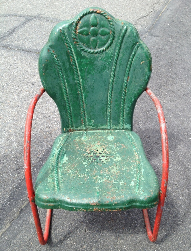 Wow! Love the detail on this one! I love these old metal chairs, but have never seen one like this!