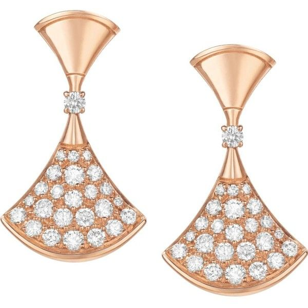 BVLGARI Divas' dream 18kt pink-gold and diamond earrings (8 208 620 LBP) ❤ liked on Polyvore featuring jewelry, earrings, rose gold pendant, diamond jewellery, diamond pendant, diamond jewelry and pendant earrings
