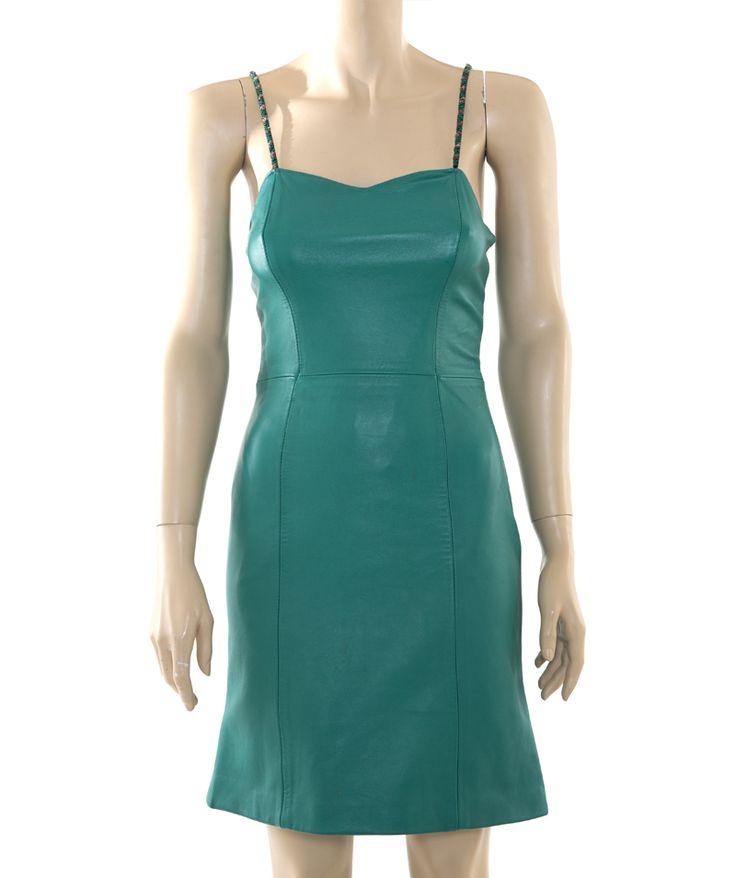 Vintage Emerald Green Leather Maxi Dress