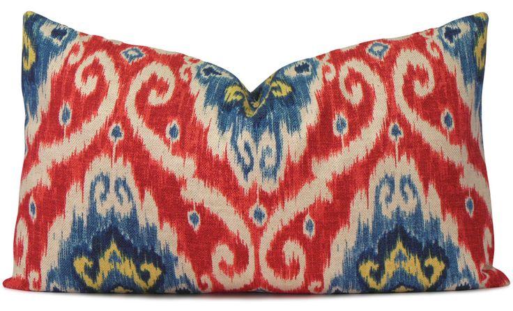 Iman Ikat Lumbar Pillow Cover in Red, Blue, Navy and Yellow - Decorative Pillow - Throw Pillow