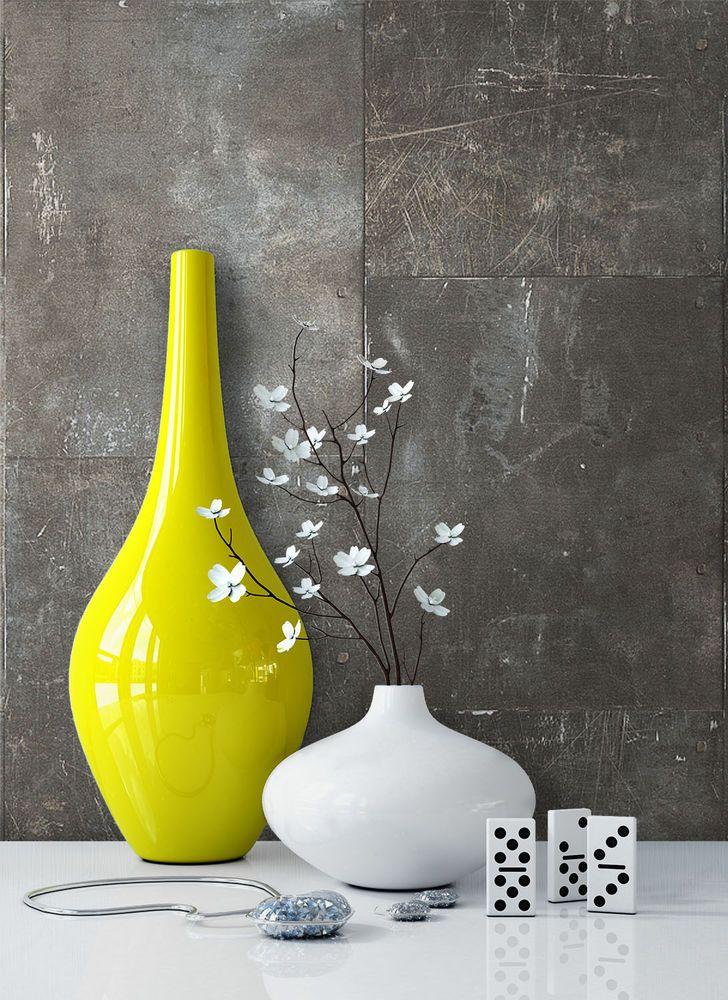 Tapete vlies stein beton steinwand braun metall optik for Tapete orientalisch blau