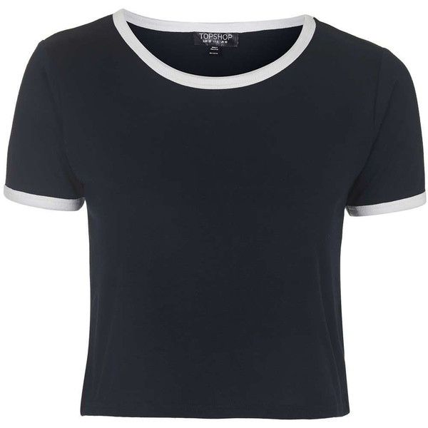 TOPSHOP Contrast Trim Tee ($18) ❤ liked on Polyvore featuring tops, t-shirts, crop tops, shirts, tees, navy blue, navy top, topshop shirt, polyester t shirts and polyester shirt