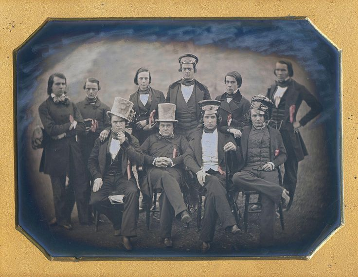 """Dennis A. Waters Fine Daguerreotypes: """"The Ranters of Bethany College, Virginia. They committed all sorts of rascalities and mischievousness. The company was commanded by the Grand Ranter, whose order must be obeyed under penalty of expulsion. Among the stunts commonly indulged in were those of robbing hen and turkey roosts and feasting on the spoils of such raids; of stealing horses from the townspeople to enjoy hilarious midnight cross-country rides."""""""