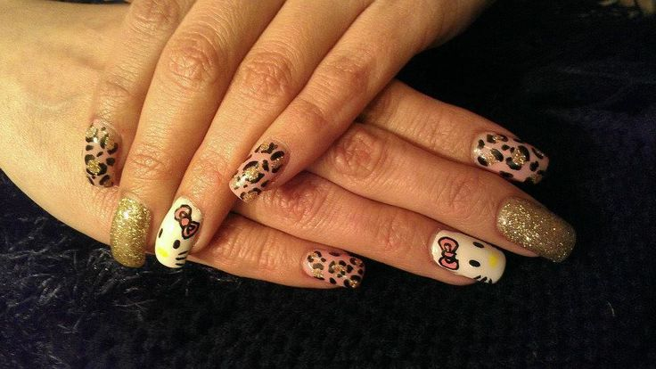 Hello Kitty and Pink Leopard Nails By Trish! #hellokittynails #pinkleopard