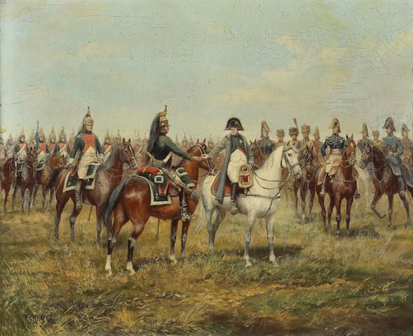 Napoleon decorating a dragoon on the battlefield; Dragoons in review by Paul Emile Léon Perboyre.