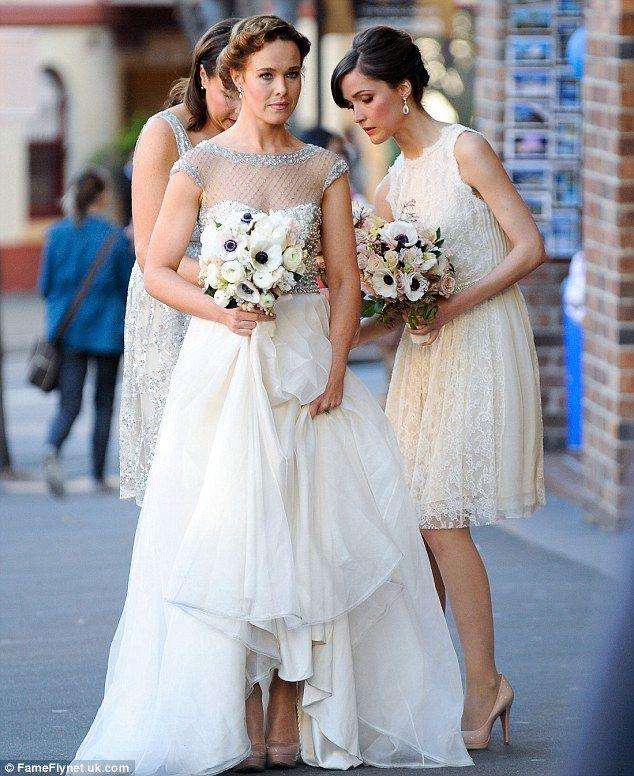beautiful wedding dress and bridesmaids