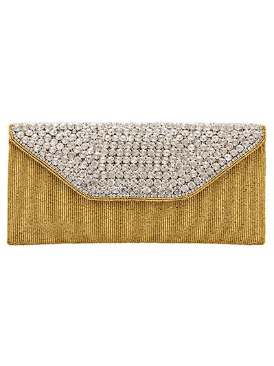 Clutch embellished with beads and diamonds