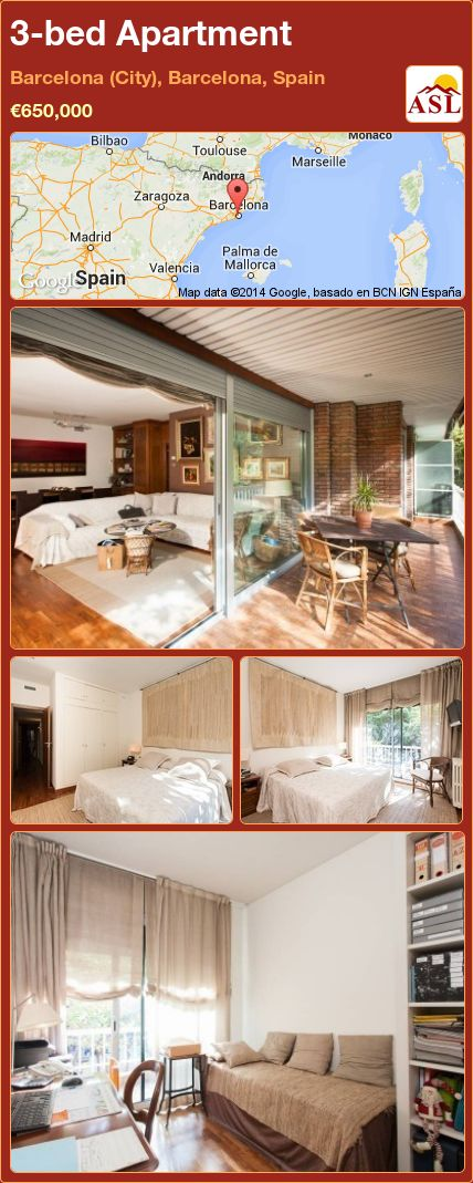 3-bed Apartment in Barcelona (City), Barcelona, Spain ►€650,000 #PropertyForSaleInSpain