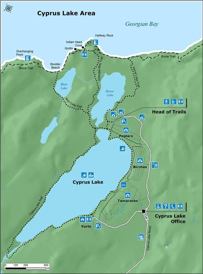 Bruce Peninsula NP, Canada - Cyprus Lake Campground Map, trails to the grotto