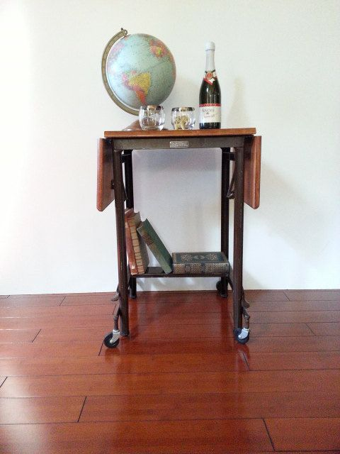 Typewriter Table Vintage Hi Lo Rolling Cart Wood And