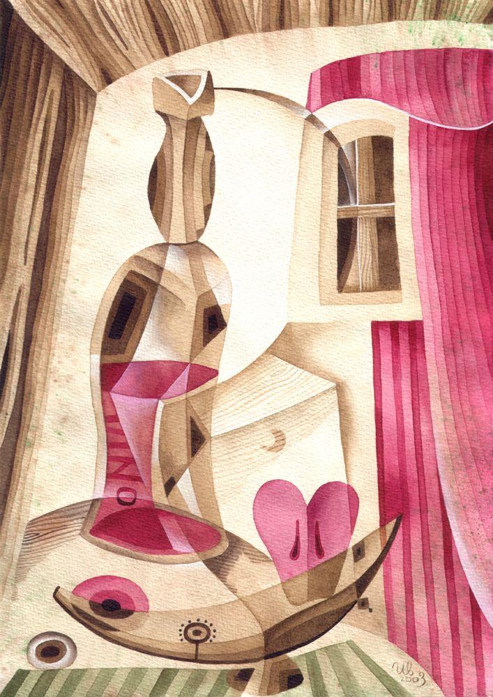 Still-life with a Bottle by Eugene Ivanov, 2003 #eugeneivanov #cubism #avantgarde #cubist #artwork #cubist_artwork #abstract #geometric #association #futurism #futurismo #@eugene_1_ivanov
