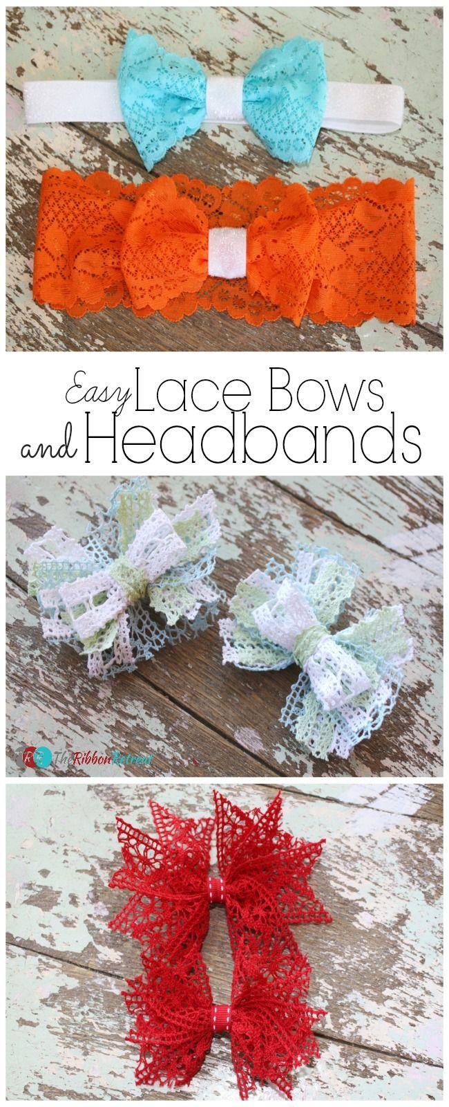 Easy Lace Bows and Headbands - The Ribbon Retreat Blog