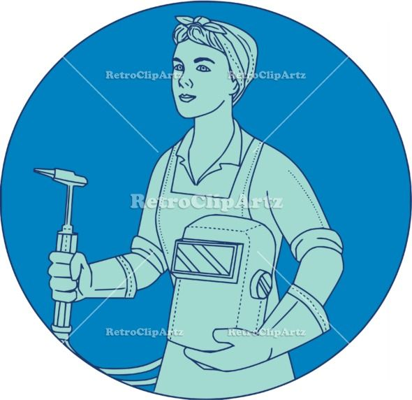 Female Welder Acetylene Welding Torch Mono Line Vector Stock Illustration.  Mono line style illustration of a female welder holding acetylene welding torch and visor viewed from front set inside circle. #illustration #FemaleWelder