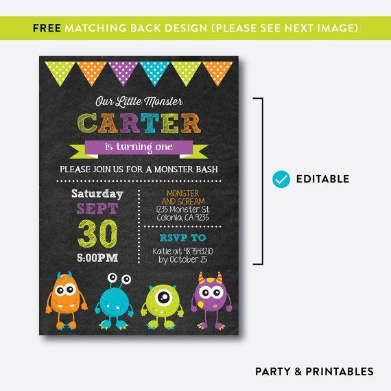 Descarga instantánea invitación de cumpleaños de Monster