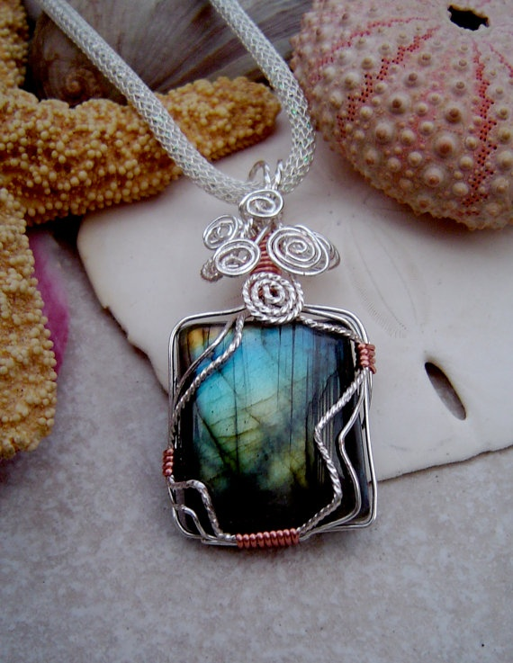 Labradorite Wire Wrap Pendant on SilverSilk by TURTLECOAST on Etsy, $75.00