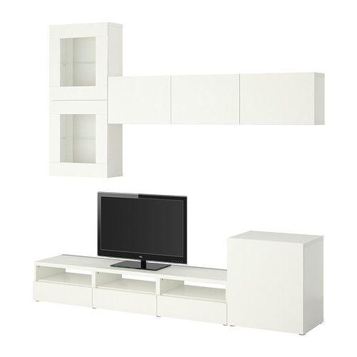 BESTÅ TV storage combination/glass doors - Vara white - IKEA