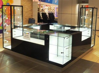 China Multimedia Full-enclosed jewelry trade show displays Retail Mall Kiosk for supermarket, exhibition supplier