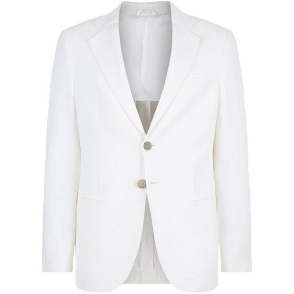 Giorgio Armani George Waffle Jacket (113,495 INR) ❤ liked on Polyvore featuring men's fashion, men's clothing, men's outerwear, men's jackets, mens lightweight jacket, mens blazer jacket, mens white blazer jacket, mens white jacket and mens light weight jackets