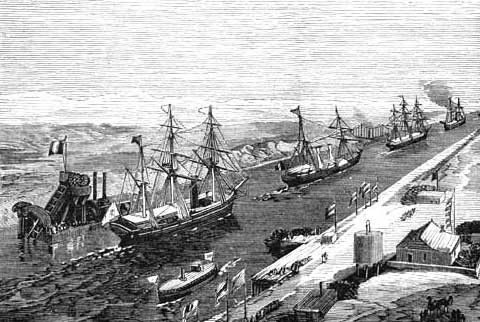 The canal had an immediate and dramatic effect onworld trade. Combined with theAmerican transcontinental railroadcompleted six months earlier, it allowed the world to be circled in record time. It played an important role in increasingEuropean colonization of Africa. The construction of the canal was one of the reasons for thePanic of 1873, because goods from the Far East were carried in sailing vessels around theCape of Good Hopeand were stored in British warehouses.