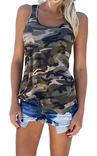 FUNOC Women's Racerback Casual Strtech Camo Shirts Camouflage Tank Top