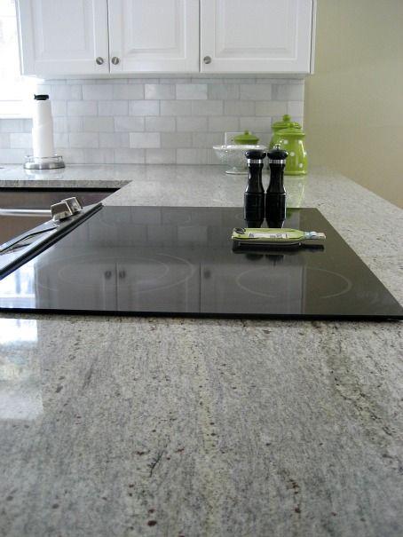 Kashmir White Granite Counters with Tile Shop Hampton Carrara marble subway tile