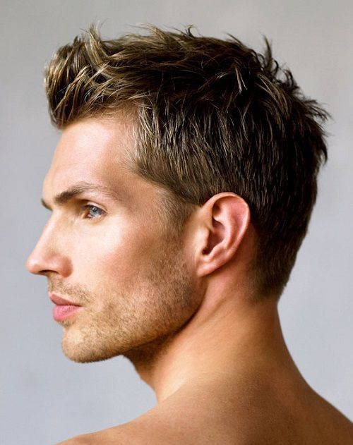 TOP 10 SHORT MEN'S HAIRSTYLES OF 2015 Ryan | Short Hairstyles 8. SIMPLE SHORT  This simple short style keeps the hair a little longer on the top, with sides and back short. It's perfect for those who want a no-muss-no-fuss hairstyle, with the freedom to play with the look from time to time. A little hair gel and tussle of the hair will create a spiked or bedhead look in a few minutes.