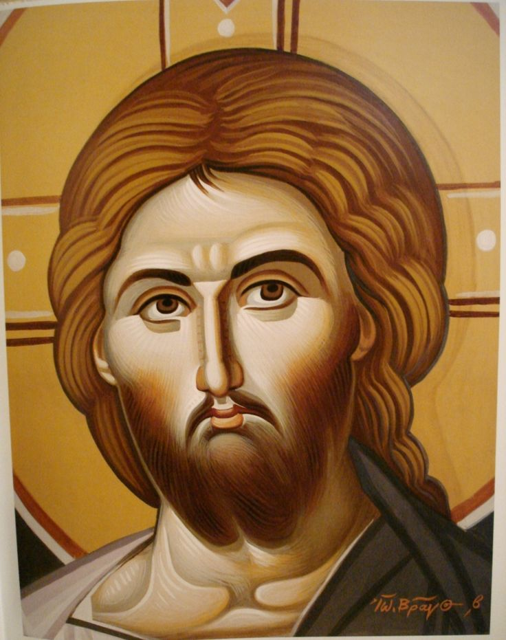 Face of Christ. Style of Panselinos. Stage 2.