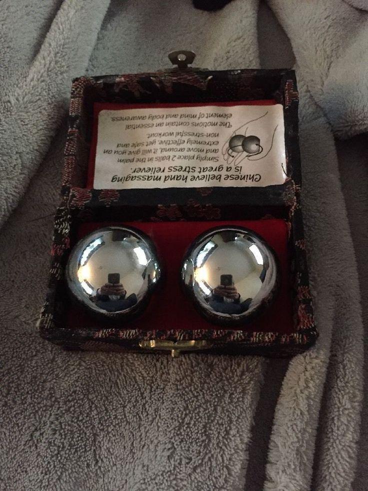 Chinese Hand Stress Massage Yin Yang Ben Wa Balls w/ Original Box Silver