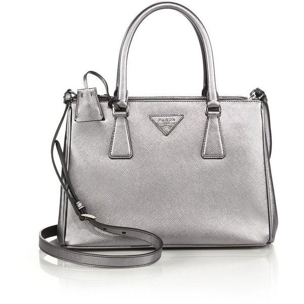 Prada Saffiano Lux Small Metallic Double-Zip Tote ($1,990 ...