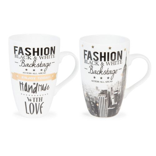 6 mugs en porcelaine backstage maisons du monde black white gold pinterest mugs. Black Bedroom Furniture Sets. Home Design Ideas