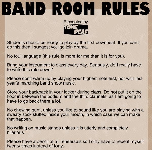 Band Room Rules — Tone Deaf