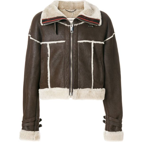 Misbhv cropped aviator jacket ($1,728) ❤ liked on Polyvore featuring outerwear, jackets, brown, brown aviator jacket, unisex jackets, aviator jackets, brown cropped jacket and cropped jackets