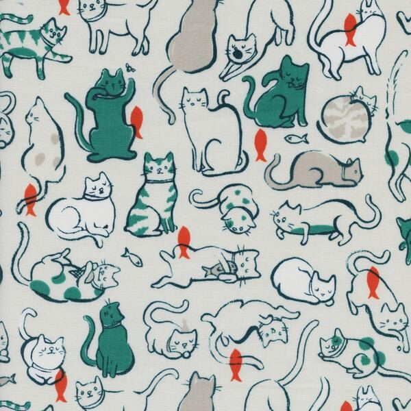 Cat Fabric | Kitty Cat Print | Cute Cat Fabric | Cotton + Steel Fabrics | Green and White Cat Print | Kitten by SpindleandRose on Etsy https://www.etsy.com/listing/475284471/cat-fabric-kitty-cat-print-cute-cat