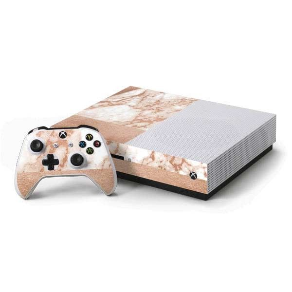 White Rose Gold Marble Xbox One S Console And Controller Bundle Skin Xbox One Xbox Rose Gold Marble
