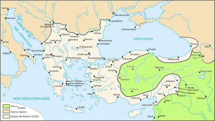 Carte de l'Empire byzantin en 1076.