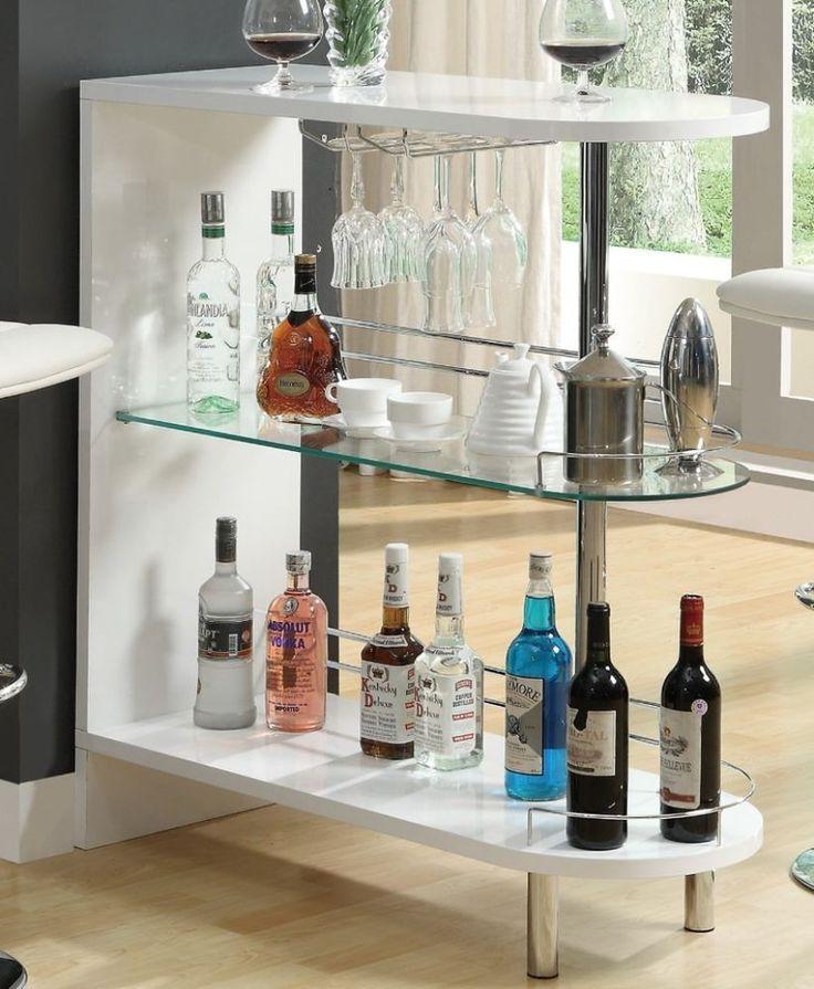 White Metal Glass Bar Table Pub Furniture Contemporary Shelving Storage New #GlassBarTable