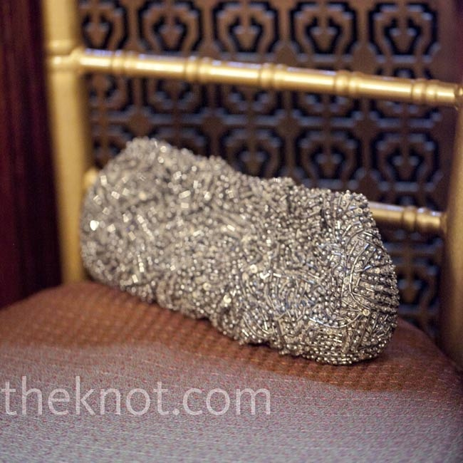 Silver-beaded Wedding Clutch