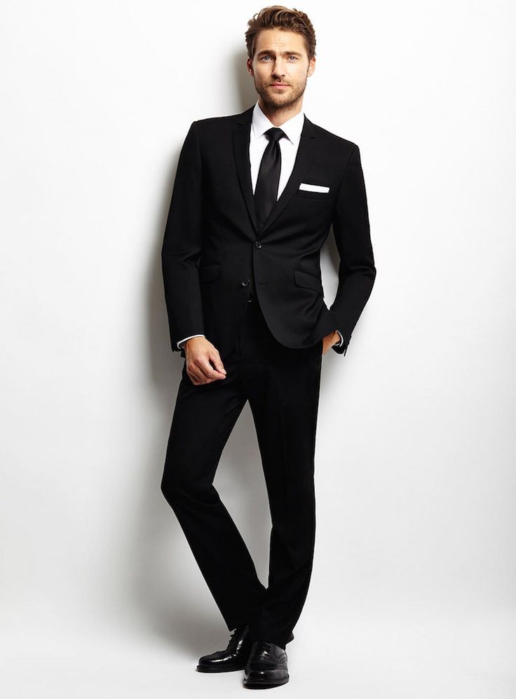 Black Wedding Suit With Black Tie