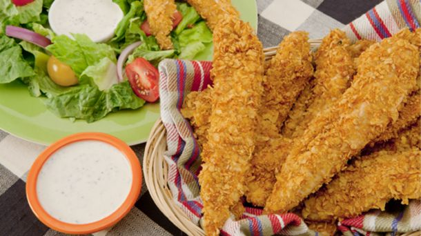 These baked-not-fried chicken fingers have a healthy crunch. Serve with tomato, salsa or add to salads or sandwiches.