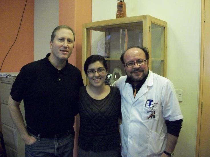 Co-Founders Dr. Timothy Malia and Mackenzie Malia meet with the director of Hospital Arco Iris, a charity hospital in La Paz, Bolivia.