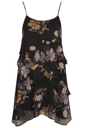 Floral Print Ruffle Slip Dress