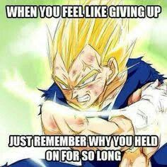 If ever thought about giving up,just think about Vegeta or be Vegeta