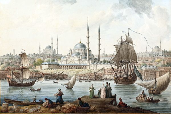 Yeni Camii and The Port of İstanbul by Jean-Baptiste Hilair. Late 18th Century.