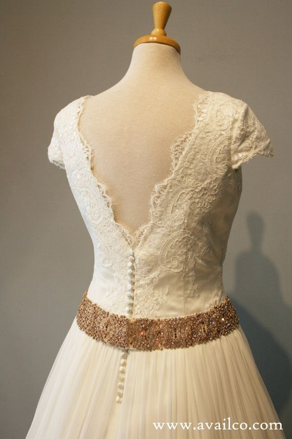 Short Sleeve Wedding Dress Ball Gown Lace And Rose Gold