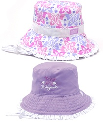 Baby Butterfly Bucket - Reversible - 2 styles in 1 hat!  One side has a pink and lilac print and the other is lilac with a single butterfly on the front. The toggle adjustable chin strap attaches with press studs, which can be re-attached when the hat is reversed.