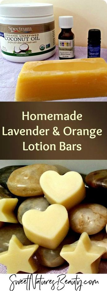 Make DIY Lotion Bars with lavender and orange essential oil for natural skincare and natural beauty. Great for on the go!