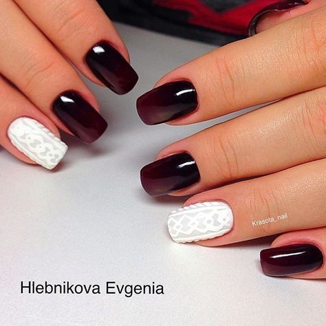 Maroon nail polish with brown hue tones nice with white, especially if the nail of the ring finger is covered ...