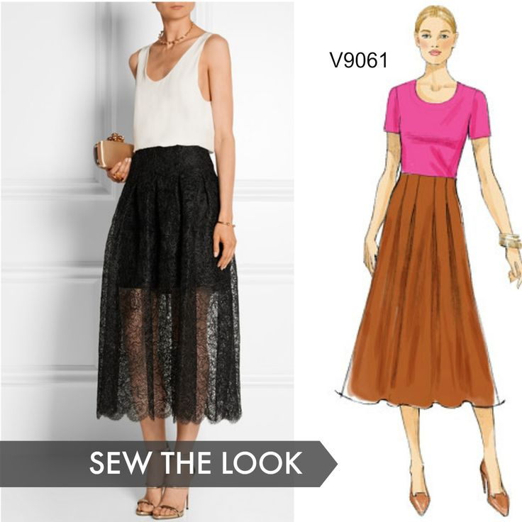 Sew the Look: We love this Oscar de la Renta lace midi skirt with a